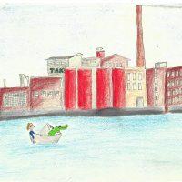 Piirros Tampereen Tako-tehtaassta jonka edustalla koskessa veneessä hahmoja.
